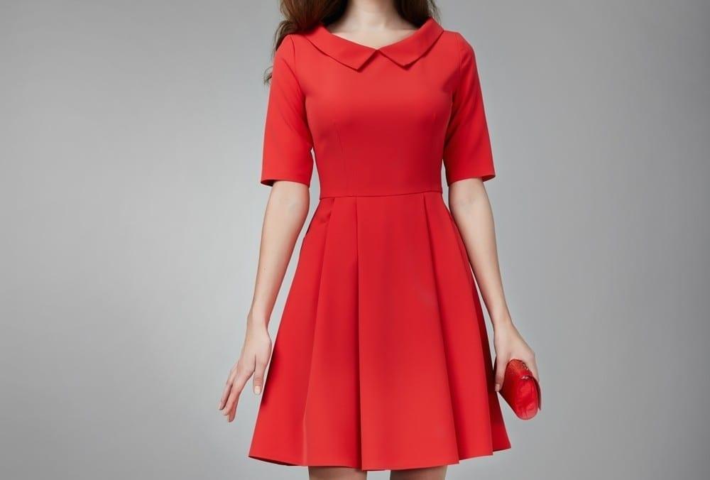 Robe rouge orangé princesse by Mademoiselle M