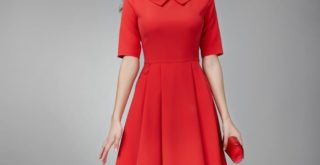 Robe rouge orangé princesse by Mademoiselle M